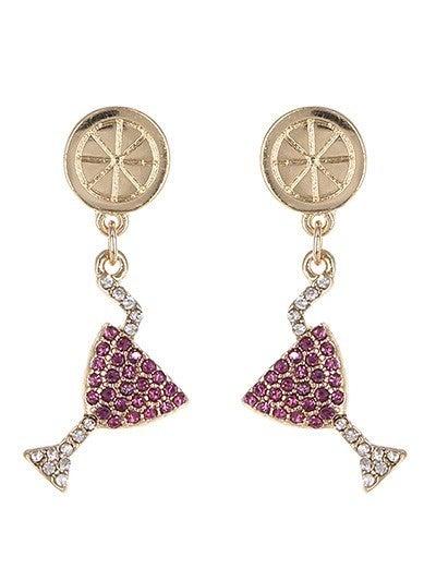 Rhinestone Wine Glass Earrings