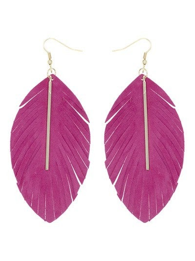 Leather Feather With Bar Drop Earring
