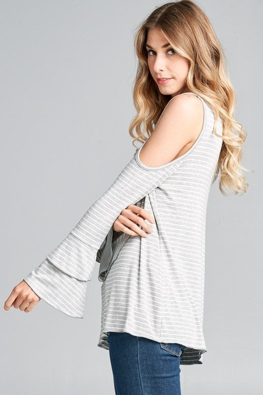 Stripe V-Neck Cold Shoulder Top