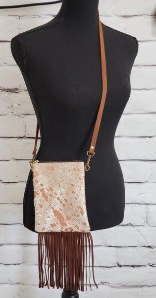 Genuine Leather Animal Hide Bag (Rose Gold)