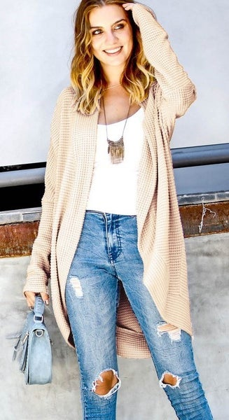 Waffle Knit Cardigan with Dolman Sleeves