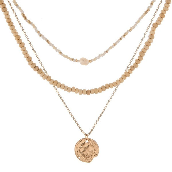 Wood Bead Layered Necklace with Gold Coin
