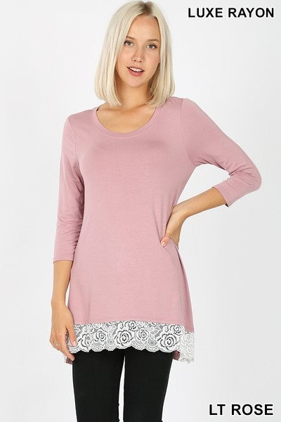3/4 High Low Lace Trim Top