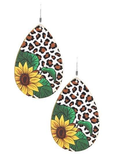 Leopard Sunflower Teardrop Leather Earrings
