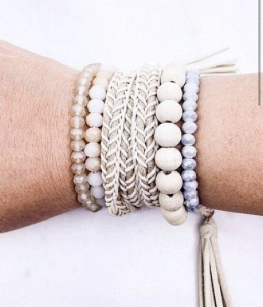 Wood & Glass Bead with Tassel Wrap Bracelet