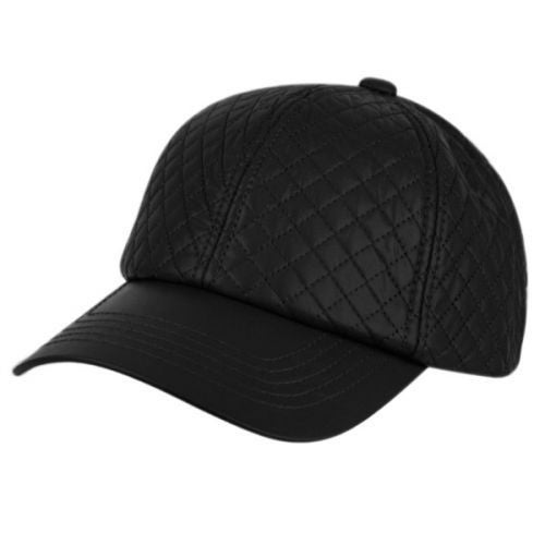 Faux Leather Six Panel Quilted Baseball Hat