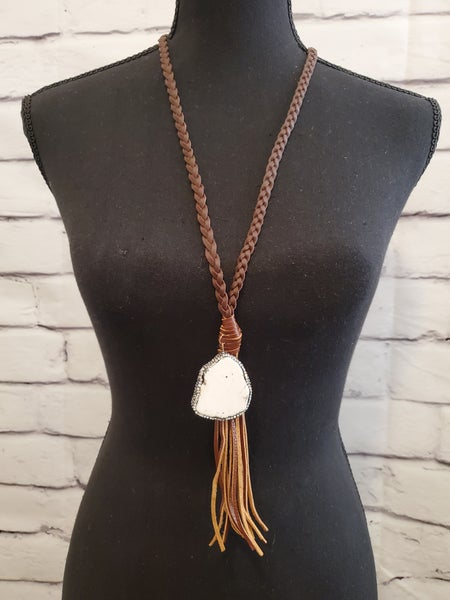 Braided Turquoise Stone Necklace And Tassel