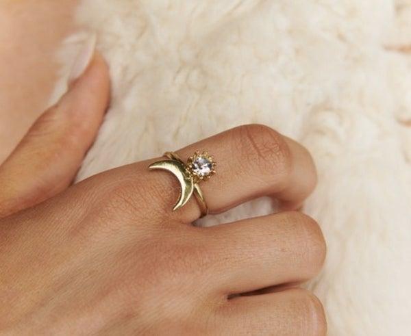 Moon & Rhinestone Ring