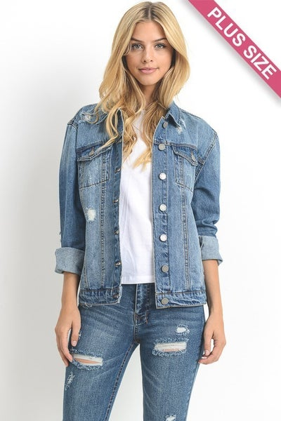 Plus Size Distressed Denim Jacket