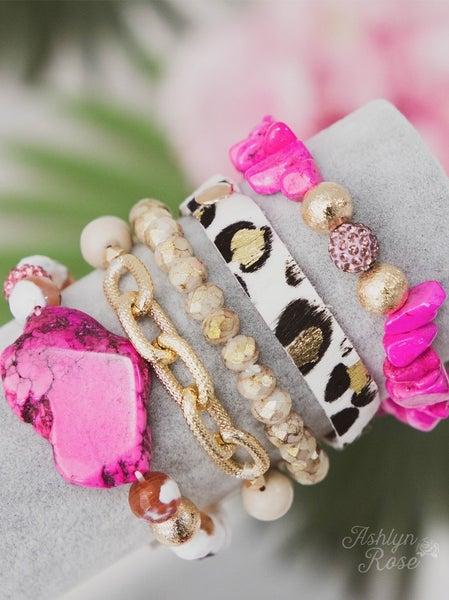 Stone & Animal Print Cuff Bracelet Set