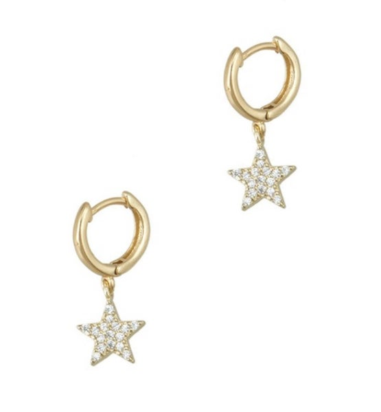 Huggie Earring with Dangling Rhinestone Star