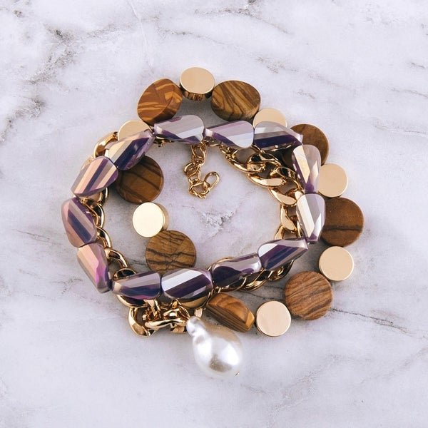 Mother of Pearl & Chain Link Bracelet Set