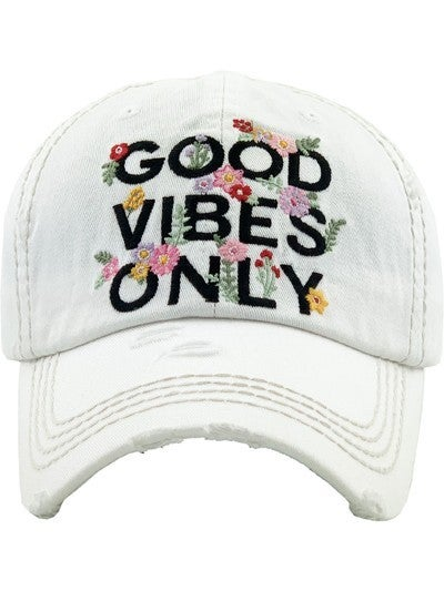 """Good Vibes Only"" Distressed Baseball Hat"