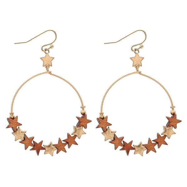 Wooden Star Hoop Earrings