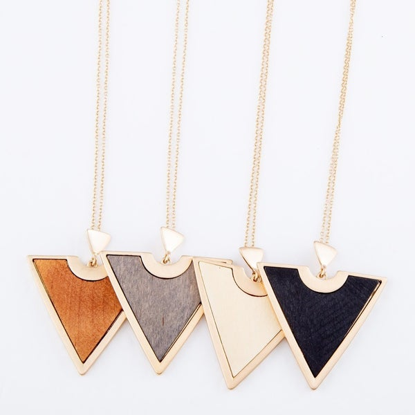 Wooden Triangle Pendant Necklace