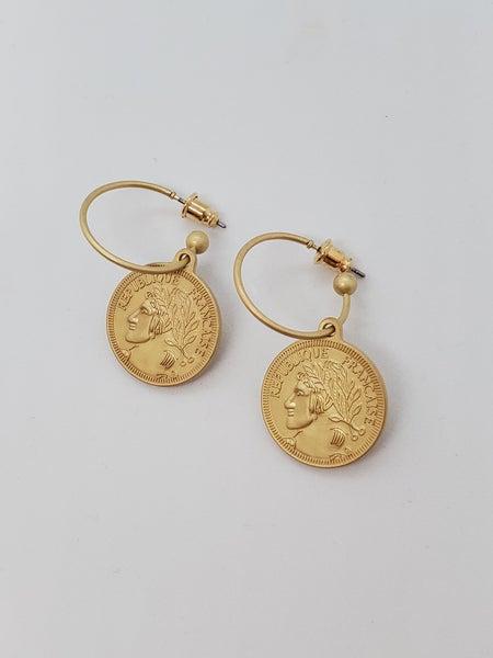 Matte Gold Coin Earrings