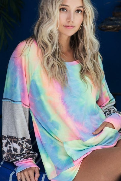 Tie Dye Sweater with Color Block Sleeves