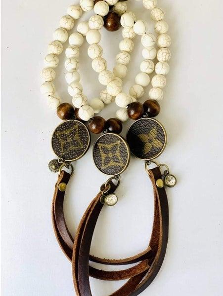 White Agate Bead with Fringe Upcycled LV Bracelet