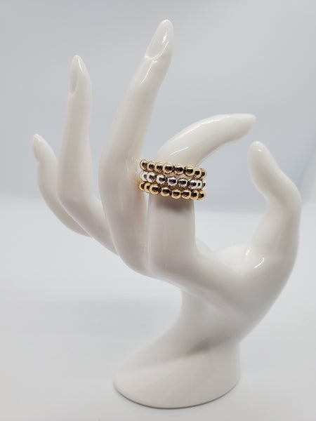 Gold, Rose Gold & Silver Bead Ring Set of 3 (shiny)
