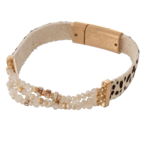 Hide & Bead Magnetic Cuff