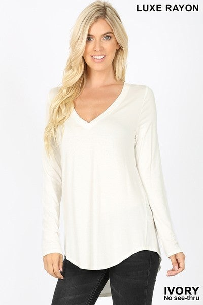 V Neck Long Sleeved Top