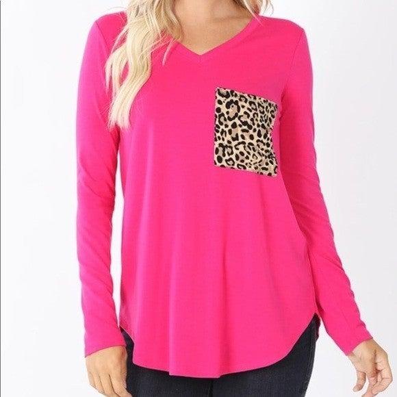 Long Sleeved V Neck Leopard Pocket Top