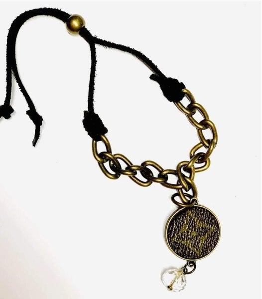 Toggle Chain with Fringe Upcycled LV Bracelet
