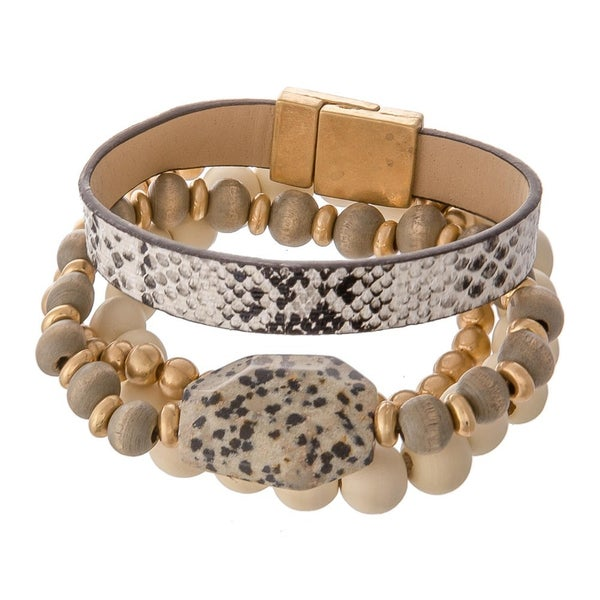 Wood Bead & Dalmatian Stone Stackable Stretch Bracelet