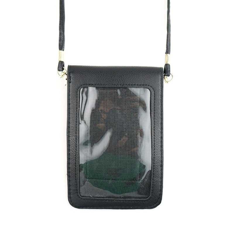 Solid Cellphone Crossbody Bag with Clear Window