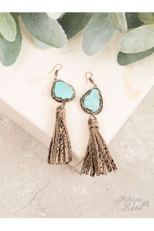 Snakeskin Tassel Earring with Chunky Stone TURQUOISE