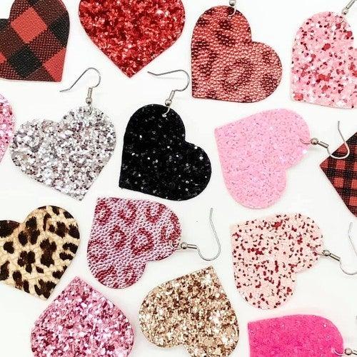 Glitter Heart Leather Earrings