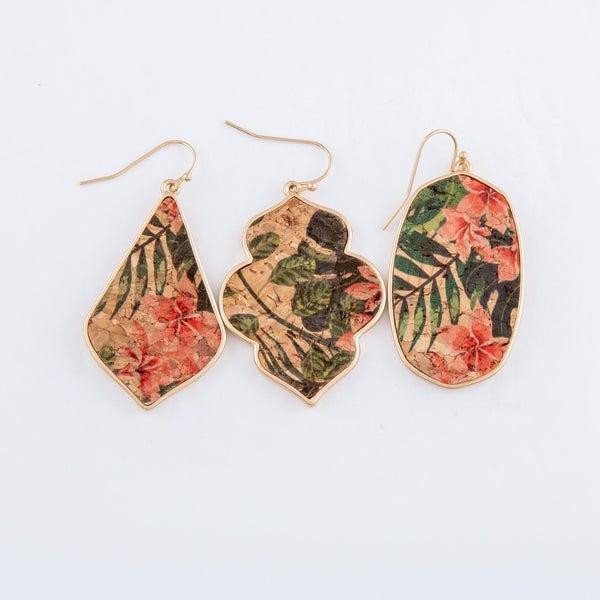 Hibiscus Cork Earrings