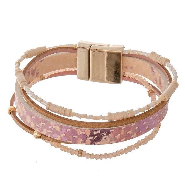 Pink Snakeskin Magnetic Cuff Set