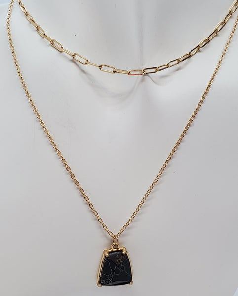 Layered Gold Necklace with Semi Precious Stone