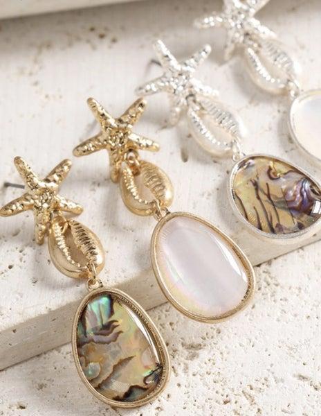 Starfish & Shell Dangle Earrings