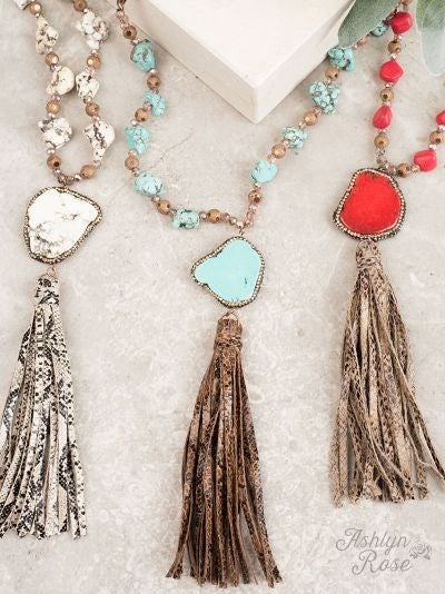 Snakeskin Tassel Necklace with Chunky Stone