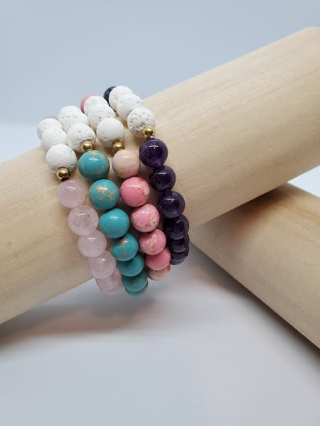 Glass Bead Essential Oil Bracelet