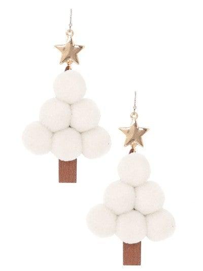 Pom Pom Christmas Tree Earrings