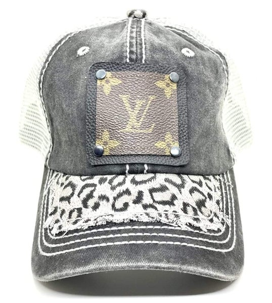 Distressed Gray Leopard Upcycled LV Hat