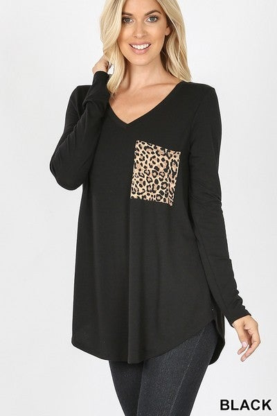 Long Sleeved V Neck Leopard Pocket Top