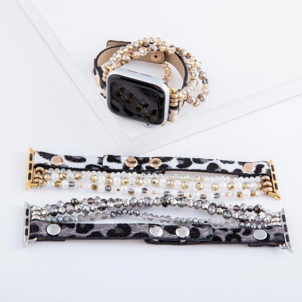 Leopard Print Beaded Smart Watch Bracelet
