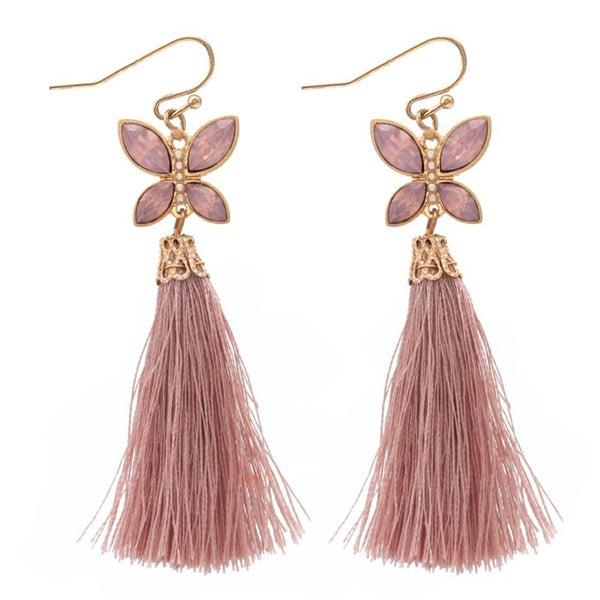 Butterfly Jewel Earrings with Tassel