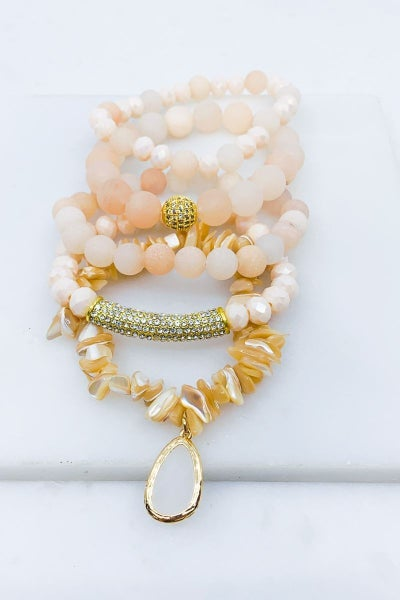 Peach 5 Piece Bracelet Set