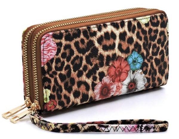 Animal Print & Floral Wristlet Wallet