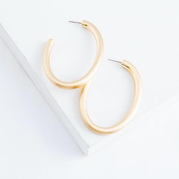 Satin Oval Hoop Earrings