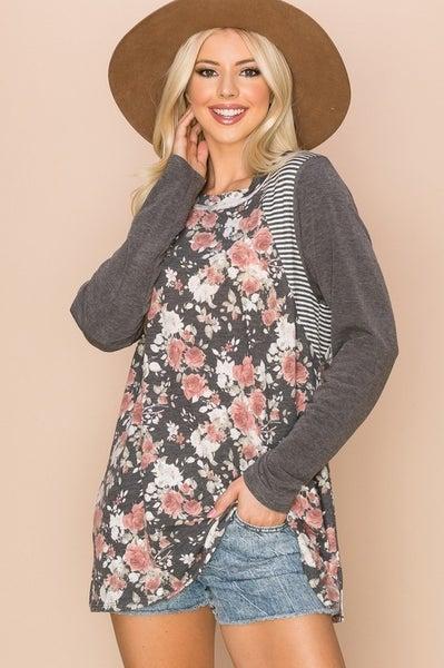 Plus Size Charcoal Floral Top