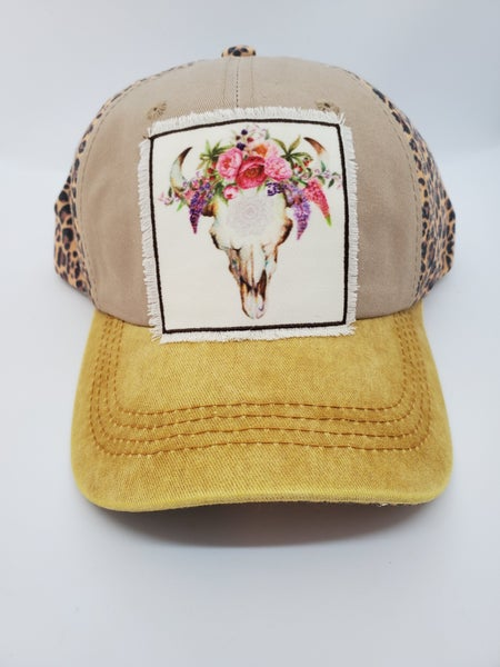 Cheetah & Bull Skull Hat