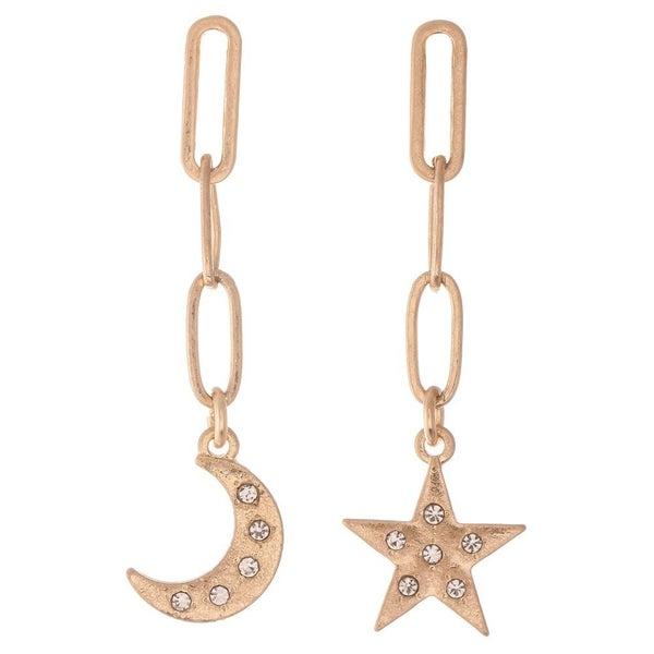 Star & Moon Chain Link Earrings