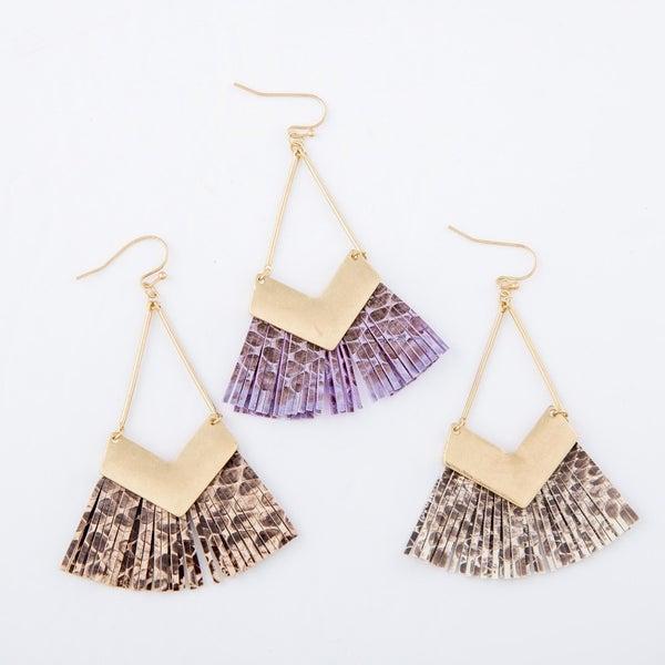 Gold Triangle with Snakeskin Tassel Earrings