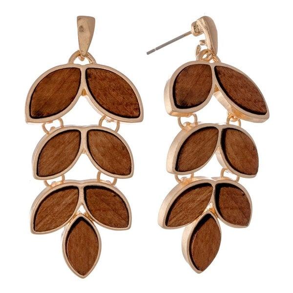 Wooden Leaf Pendant Earrings